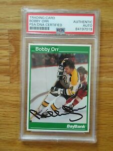 Bay Bank BOBBY ORR signed BOSTON BRUINS Career Statistics Card #3 PSA 841970189