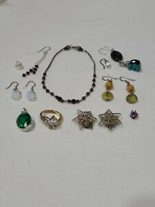 11 PC ESTATE STERLING SILVER JEWELRY LOT FREE SHIPPING