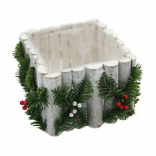 Planter Table Centrepiece Christmas - Natural Wood / PVC Lined - White