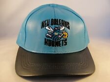 New Orleans Hornets NBA Adidas Leather Snapback Cap Hat Teal Black