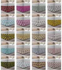 Ambesonne Floral Leaves Bedskirt Elastic Wrap Around Skirt Gathered Design