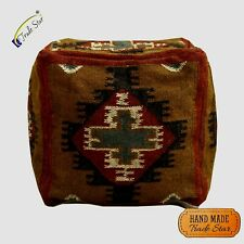 "Vintage Kilim Pouf Cover 18"" Handmade Ottoman Pouffe Case Rustic Footstool Cover"