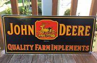 LARGE OLD VINTAGE JOHN DEERE FARM IMPLEMENT & TRACTOR PORCELAIN ENAMEL SIGN