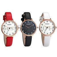 Womens Girls Thin PU Leather Band Arabic Numerals Casual Quartz Wrist Watch