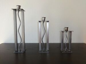 Modern Handmade Metal Candlestick Holders (set of 3)