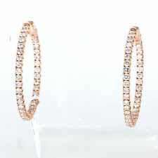 LADIES 14K ROSE GOLD & 2.85 CTS. SPARKLING DIAMONDS INSIDE OUT HOOP EARRINGS