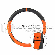 """Universal 15"""" PU Leather Sports Car Tuning Grip Steering Wheel Cover Skidproof"""