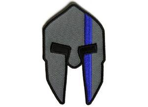 "Spartan Helmet BLUE LINE for POLICE 2.5"" x 4"" iron on patch (5289) Vest (H34)"