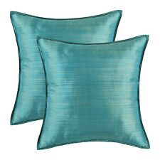 """2Pcs CaliTime Cushion Covers Pillows Shells Solid Teal Striped Dyed Home 18""""X18"""""""