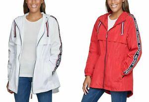 Tommy Hilfiger Ladies' Long Lightweight Windbreaker Hooded Rain Jacket RED/WHITE