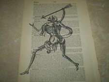 SKELETON WARRIOR AUTHENTIC ON ANTIQUE DICTIONARY BOOK PAGE FROM 1893