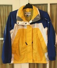 Columbia Interchange Core Shell Coat Jacket Women's Medium Blue Yellow White
