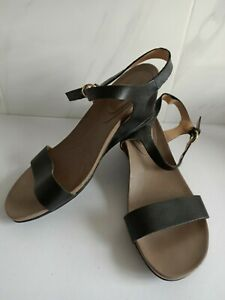 LADIES NATURALIZER WEDGE COMFORT HEEL BLACK LEATHER STRAPPY SZ 41/9.5 CASUAL
