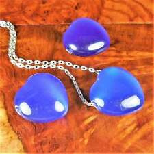 Heart Necklace - Blue Cats Eye Gemstone Charm Carved Bead Pendant (Y7)