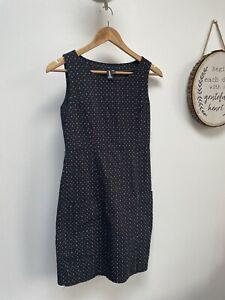 IZABEL LONDON Black Spotted Pinafore Dress/ Office Dress - Size 8