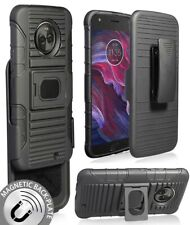 BLACK MAGNET GRIP CASE + BELT CLIP HOLSTER STAND FOR MOTOROLA MOTO X4, 4th Gen