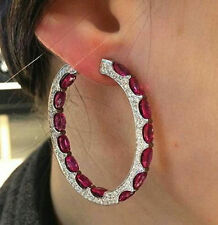 10 ct Hoop Earring Solid 925 Sterling Silver Red Oval Inside Outside Jewelry Cz