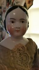Antique 18 inch brown eyed covered wagon china head doll