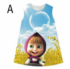 NEW Kids Baby Girl Masha And The Bear Party Dress Vest Skirt Toddler Clothes CA