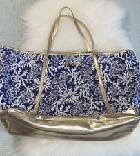 Lilly Pulitzer Large Tote Bag Ocean Reef Blue Gold