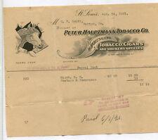 Vintage Illustrated Letterhead PETER HAUPTMANN TOBACCO 1921 St Louis HORSE Cigar