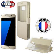 Etui Rabattable Beige Champagne Avec Ouverture Ecran pour Samsung Galaxy S7 G930