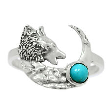 Wolf - Kingman Blue Mohave Turquoise 925 Silver Ring Jewelry s.8 Br93599