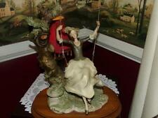 "Vintage Capodimonte Sculpture Figurine STATUE CROWN ""N"" SIGNED WOMEN/ SWING"
