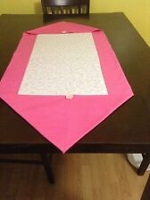 NEW HANDMADE PINK WITH DAINTY FLOWERS 18 x 40 COTTON TABLE RUNNER
