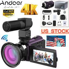 Andoer 3'' 4K 1080P 48MP WiFi Digital Video Camera Camcorder IR Vision 16X Zoom