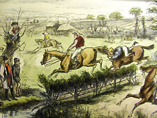 G. Bowers 1900 WATER JUMP HORSE JUMPING GATE Antique Lithograph Print Matted