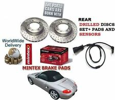 FOR PORSCHE BOXSTER 986 987 1999-> REAR DRILLED BRAKE DISC SET & PAD KIT+ SENSOR