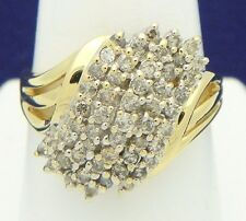 1 ct DIAMOND CLUSTER RING SOLID 14 K GOLD 6.1 g SIZE 10