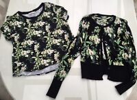 Oasis two piece top & matching cardigan with a floral orchid theme size is UK L