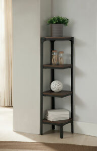Metal Wood Antique Walnut 3 Tier Shelf Corner Storage Bookcase Organizer
