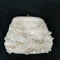Vintage Bead & Sequin White Ivory Evening Bag Small Clutch Purse Wedding Prom