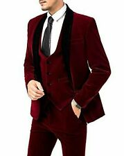 Men Maroon Velvet Suits Designer Wedding Grooms Dinner Suits(Jacket+Vest+Pant)