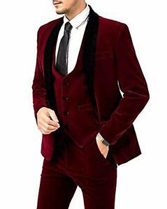 Men Maroon Velvet Suits Designer Wedding Grooms Dinner Suits(Jacket+Vest+Pant)