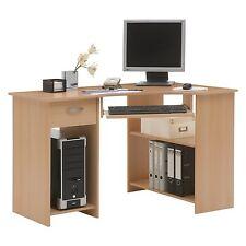 Home Office Computer Desk - 1 Drawer + 2 Tall Shelves Workstation - Beech