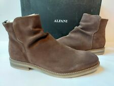 Alfani Arlen Suede Leather Ankle Boots Mens 8 M Brown Closed Toe Zip $149