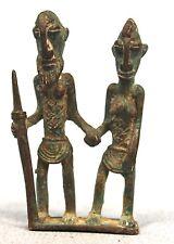 Art Africain - Couple de Figurines en Bronze Dogon - Mali - Cire Perdue - 7 Cms