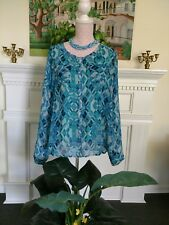 Aquamarine abstract LS sheer blouse Plus XXL  button front scoop neck
