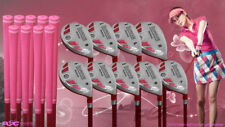 "Women's iDrive Golf Clubs All Ladies Pink Hybrid (3-SW) Set Lady ""L"" Flex Clubs"