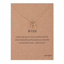 Make A Wish Gold Dipped Necklace Wishbone pendant with card