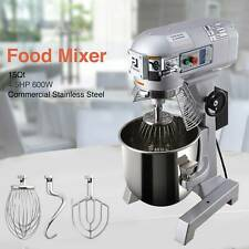 Stainless Steel Blender Commercial 3 Speed Dough Food Mixer 600W 4/5P 15Qt