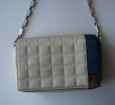 Auth CHANEL Chocolate Bar Beige Blue Satin Shoulder Handbag