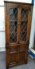Old Charm Oak Corner Cabinet/Cupboard glass cabinet