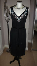 OASIS Black Mesh Cocktail / Party Dress Nice beading & Sequins - Size 10