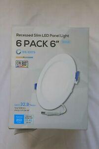 """Torchstar 6"""" 12W Slim LED Recessed Panel Light Pack of 6 w/ Junction Box 4000K"""