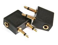 5X Gold Plated 3.5mm Audio Airplane In-Flight Headphone Converter Travel Adapter